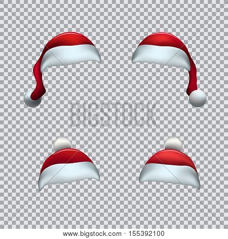 Santa red hat template on transparent background. Christmas holiday object