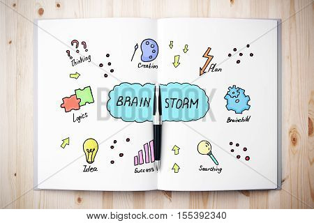 Top view of open book with creative sketch placed on wooden desktop. Brain storm concept. 3D Rendering