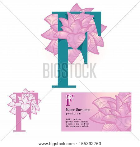 Creative logo for the company's corporate identity: a flower in the letter f, floral, feminine, eco-friendly style