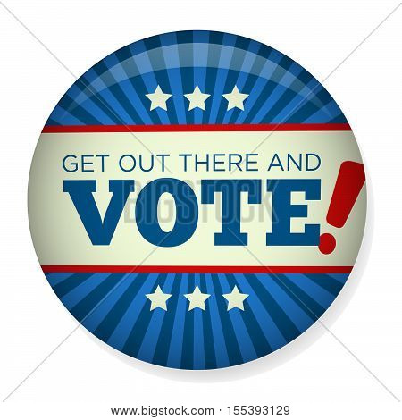 Retro or Vintage Style Vote or Voting Campaign Election Pin Button or Badge. Use this pin on infographics blog headers flyers or web pages. Or print it out and create a real pin or badge. 3d