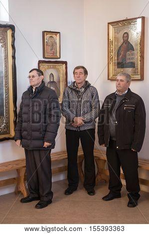 VOYUTYN UKRAINE - 14 OCTOBER 2016: Ukrainian parishioners of the Orthodox Church during Slavonic Religious celebration Pokrov