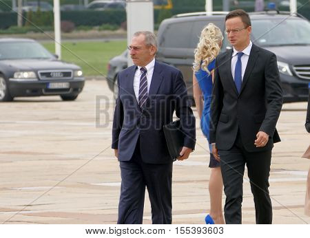 Belgrade Serbia. September 5th 2016: Minister of Interior of Hungary Sandor Pinter (L) and Foreign Minister of Hungary Peter Szijjarto (R) walking at the plateau