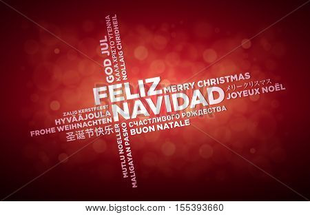 Multi language Merry Christmas typographic design. Spanish text is in the middle of the page. Word Cloud in different languages. Vector illustration.