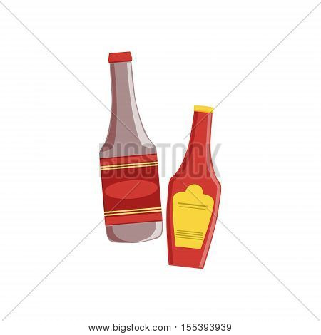 Ketchup And Sauce Set Of Pizza Ingredients. Vector Illustration In Realistic Simplified Style. Isolated Objects On White Background.