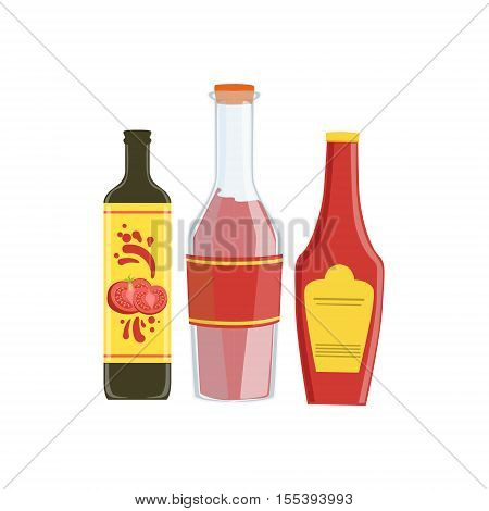 Ketchup, Soya And Hot Sauce Set Of Pizza Ingredients. Vector Illustration In Realistic Simplified Style. Isolated Objects On White Background.