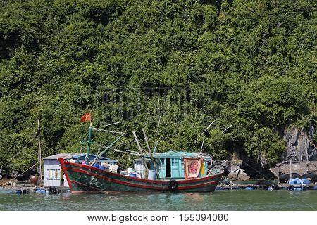 Cat Ba, Vietnam, October 27, 2016 : Fishermen Boat Near Cat Ba. Cat Ba Archipelago Makes Up The Sout