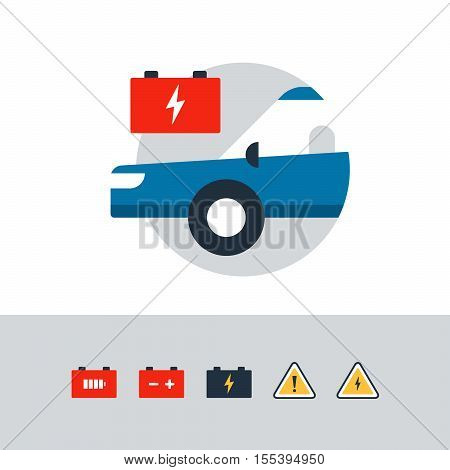 Blue car in a circle with a red accumulator. Flat design vector illustration