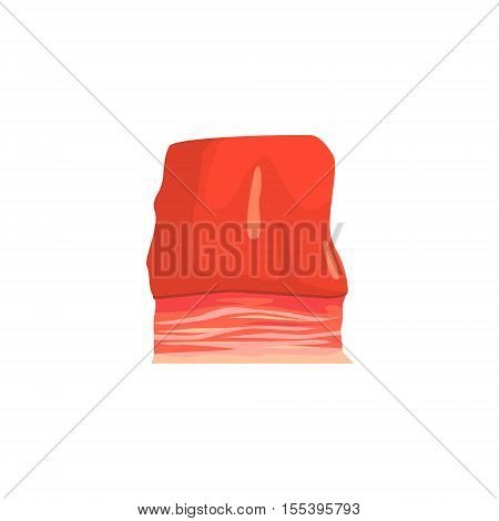 Piece Of Brisket Colorful Illustration. Meat Product Vector Icon Isolated On White Background.
