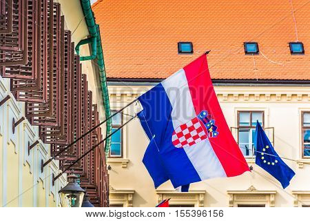 Croatia is one of 27 countries in EU, photo is taken in Zagreb, capital town of Croatia, building of government.