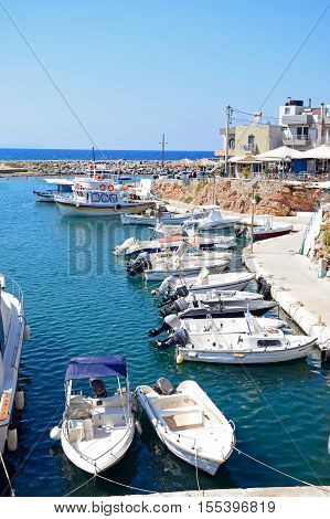 SISSI, CRETE - SEPTEMBER 14, 2016 - Elevated view of boats moored in the harbour Sissi Crete Greece Europe, September 14, 2016.