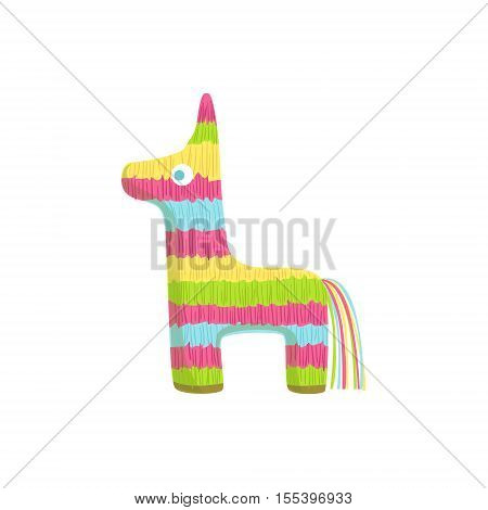 Pinata Mexican Culture Symbol. Isolated Bright Color Vector Object Representing Mexico On White Background