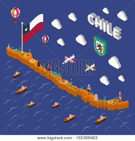 Chilean tourists attractions symbols isometric map with national flag food  and places of interest poster vector illustration