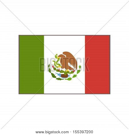 Flag Of The Country Mexican Culture Symbol. Isolated Bright Color Vector Object Representing Mexico On White Background