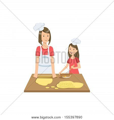 Mother And Child Making Cookies Together Illustration. Cute Simple Cartoon Style Drawing Of Single Mom And Her Kid Pastime.