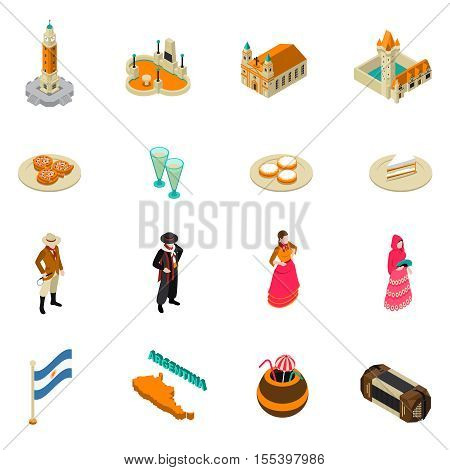 Argentina for travelers isometric symbols collection with national cuisine bitter alcohol drink and obelisk monument isolated vector illustration