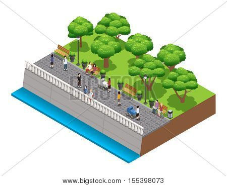 Isometric landscaping composition with people walking on stone embarkment in summer vector illustration