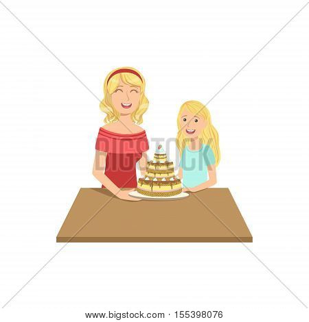 Mother And Child Having Cake Together Illustration. Cute Simple Cartoon Style Drawing Of Single Mom And Her Kid Pastime.