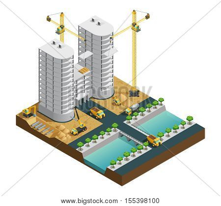 Construction process of many storeyed modern building near canal composition on white background isometric vector illustration