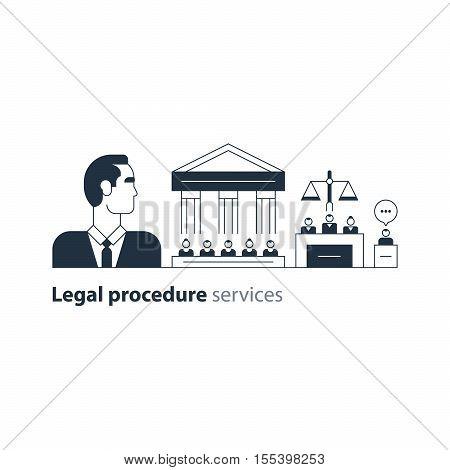 Flat design vector illustration. Court house trial case