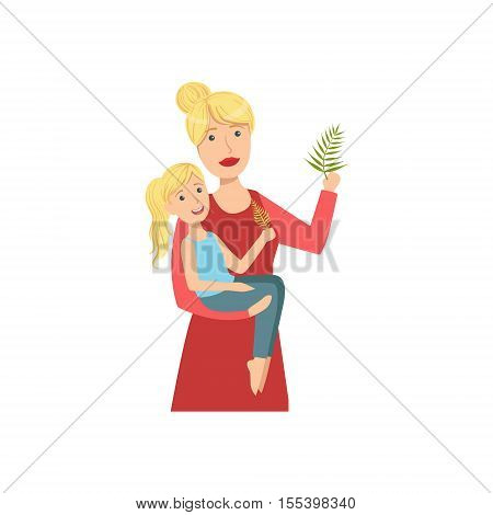 Mother And Child Enjoying The Nature Together Illustration. Cute Simple Cartoon Style Drawing Of Single Mom And Her Kid Pastime.