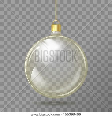 Template Of Glass Transparent Christmas Ball. Stocking Element Christmas Decorations. Transparent Ve