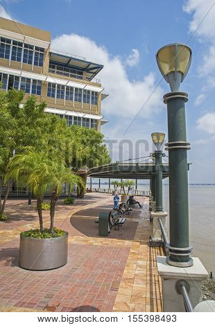Waterfront walkway or malecón in a popular neighborhood in the city of Guayaquil, Ecuador