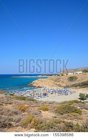 Elevated view of Boufos beach and the coastline Sissi Crete Europe.