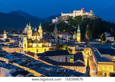 Beautiful view of the historic city of Salzburger Land, Austria Night
