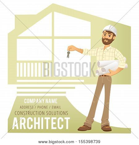 Architect in helmet with blueprints and keys in hand against background of constructed house, cottage. Character Construction Architect Engineer. Concept for banner, business card. Vector illustration