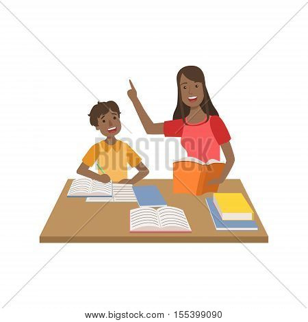 Mother And Child Doing Homework Together Illustration. Cute Simple Cartoon Style Drawing Of Single Mom And Her Kid Pastime.