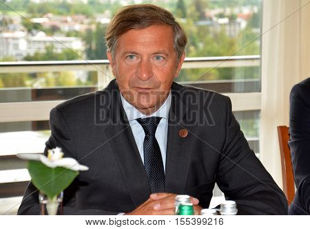 Bled, Slovenia. September 6th 2016.Slovenian Foreign Minister Karl Erjavec during the meeting
