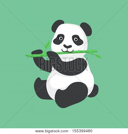 Cute Panda Character Eating Bamboo Illustration. Cartoon Animal Icon In Girly Style On Green Background.