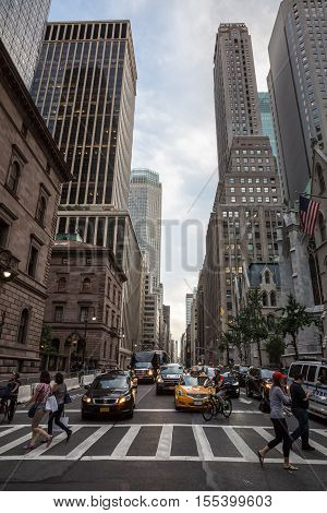 Manhattan Street Scene In Evening Time