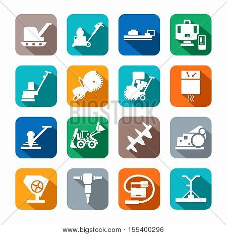 Equipment for working with concrete, construction equipment, icon color, flat. White, vector image of construction equipment and tools on a colored background with a shadow.
