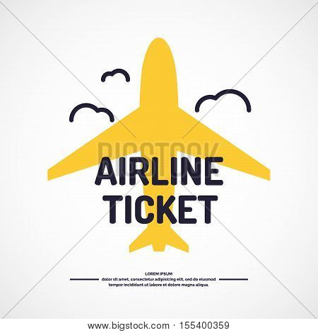 Vector illustration Airline Ticket for Buying air tickets. Poster for sale of trips and tours.