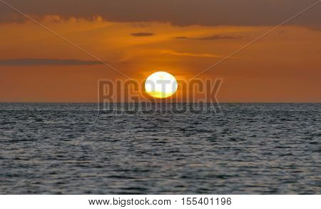 Incredibly Beautiful Sunset On The Azure Ocean