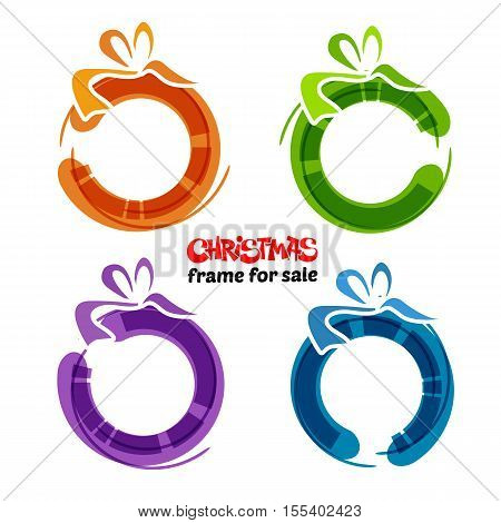 Christmas gift card with red ribbon and satin bow. Vector illustration. Circle and bow