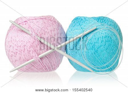 Bright woolen threads with spokes for knitting isolated on white background