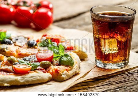 Baked Pizza And Served With Cold Drink