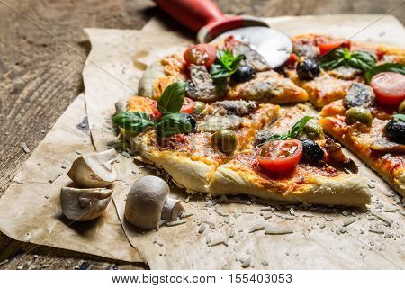 Baked Pizza And Served With A Cold Drink