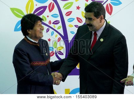 Porlamar Venezuela. September 17th 2016: President of Bolivia Evo Morales and Venezuelan President Nicolas Maduro at the opening ceremony of the Non-Aligned Movement Summit in Porlamar Venezuela