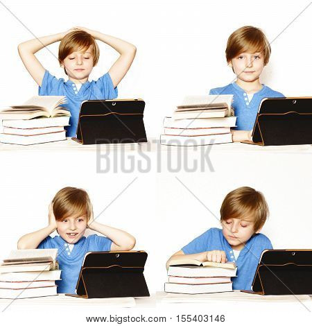 collage set portrait cute blond boy with books and tablet