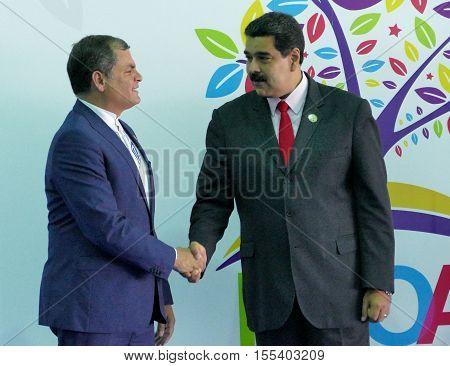 Porlamar Venezuela. September 17th 2016: Ecuadorian President Rafael Correa and Venezuelan President Nicolas Maduro at the opening ceremony of the Non-Aligned Movement Summit in Porlamar Venezuela