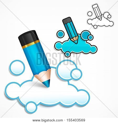 Pencil and cloud speech bubble creative concept for presentation business idea symbols on white vector illustration.