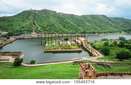 View of Amer (Amber) fort and Maota lake in Jaipur Rajasthan India. poster