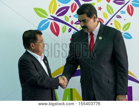 Porlamar Venezuela. September 17th 2016: Indonesian Vice President Jusuf Kalla and Venezuelan President Nicolas Maduro at the opening ceremony of the Non-Aligned Movement Summit in Porlamar Venezuela