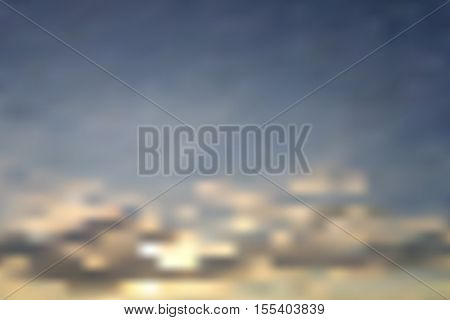 Sun with clouds blurry background illustration