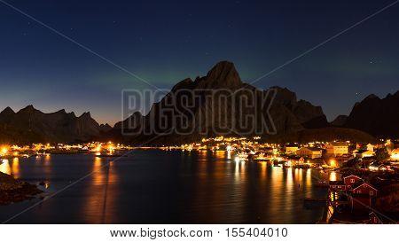 Village of Reine at twilight Lofoten Norway