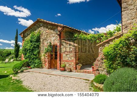 Summer cottage agriturismo in Tuscany Italy in summer