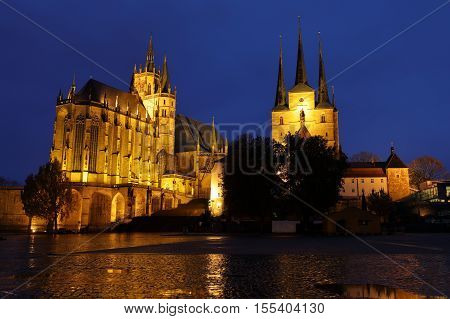 The Erfurt Cathedral at night in Thuringia
